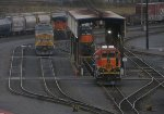UP 6868 (power holding lane) ; BNSF 1668 (Inspection pit north) ; BNSF 2707 (inspection pit south)