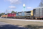 NB freight with HLCX new paint job 