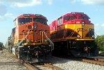 BNSF 6381 and KCS 4166 SB at Gribble, TX