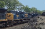 CSX 4515 gets the elephant treatment pulling freight north across Iona Island NY