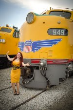 Ms Julianna Moats candidly modeling at the UP 949, EMD E9A