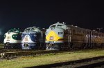 Southern 6133, Wabash 1189, and DLW 663 & 664B posed for one of Thursday night's photo ops