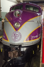 ACL 501, EMD E3A nose shot, inside the NCTM's Bob Julian Roundhouse at Streamliners