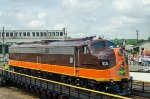 Iowa Pacific 515, EMD E8A, riding the turntable