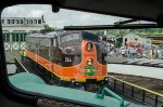 Iowa Pacific 515, EMD E8A, riding the turntable, taken from the cab of UP 949 EMD E9A