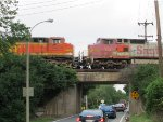 Two BNSF engines, One From a Fallen Flag