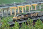 UP 6014 Heads a WB empty coal on the flyover.