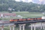 BNSF 5132 Leads a stack train through Kc on the flyover.