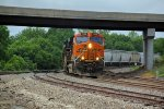 BNSF 7356 Leads a freight east around a nice curve..