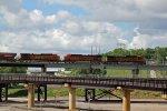BNSF 5472 Heasd a EB grain train on the flyover.