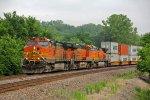 BNSF 4417 Heads up a WB Q train into Shawnee KS.