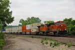 BNSF 7857 Rolls a stack to a crawl..