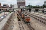 BNSF 6682 Heads a Q train past Union Station Kc Mo.