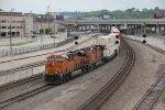 BNSF 6587 Heads a EB q train into Union station Kc Mo.