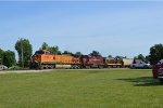BNSF leads a&m c420s  on a grain train going to georges