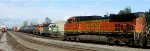 BNSF 5493 grain train prepares to pass BNSF 2752 - BNSF 1599