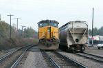 ballast train waits to go south at CSX Cayce yd