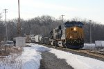 CSX 3007 & 8715 roll west over the switch at Seymour with Q335