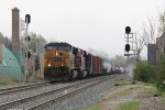 CSX 500 leads Q335 downhill as it splits the signals near mile 150