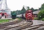 CLP 306 leads Vermont Railways' interchange train into North Bennington
