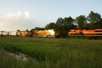 BNSF 8236 catches the setting Texas Sun as it meets KCS 4166 on the Flynn Siding.