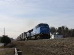 NJ Bound stack train with an all blue consist approaches CP MO