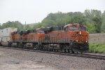 BNSF 7853 Heads a stack train WB.