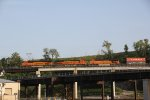 BNSF 7418 Blast a EB stack over the flyover in Kc Mo.