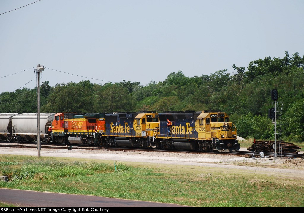 The BNSF local finishes building thier train.