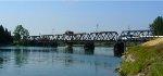 Amtrak crossing the Woodland train bridge