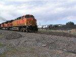 BNSF 5639 leads South bound oil train