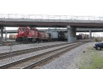 CP 4602 leads a yard job east with a cuts of various cars