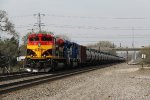 KCS 4164 sits tied down at the Belmont holdout with oil loads waiting for a new crew