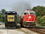 Northbound MARC Train Passes CSX Power at Tarmac Aggregates