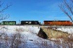 NS 3536, 3205, & BNSF 7460