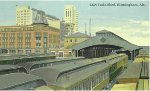 A Postcard view fromt he rear of Birmingham Union Station showing the train shed and division office building (green building to left of train shed)