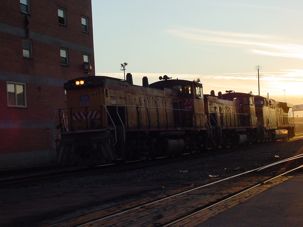 Yard Move at Sunset with UPY MP15AC 1426, UPY MP15AC 1416, and UP AC4460CW 7319