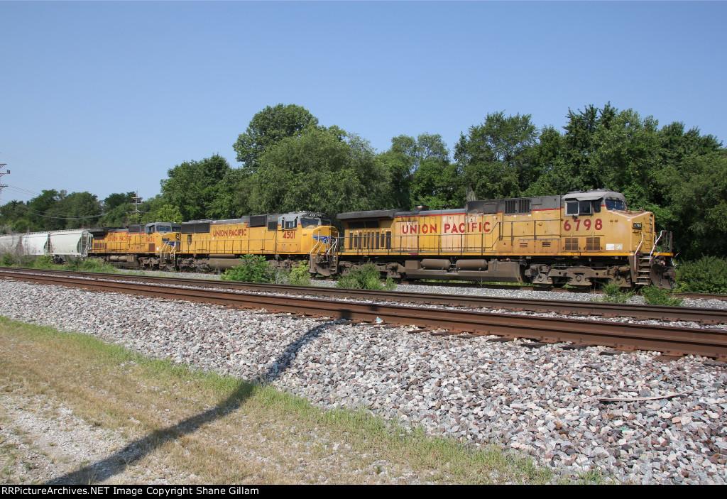UP 6798 Leads a Frac sand train up the Kcs main.