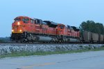 BNSF 9079 Heads a empty coal into Old Monroe at last light.