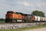 BNSF 7508 Slow's for a train meet at Old Monroe Mo.