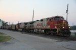 BNSF 4707 and BNSF 607 lead the local through Louisiana Mo.