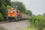 BNSF 5992 Leads a coal load Sb down the Hannibal sub..
