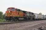 BNSF 4516 Heads up a NB mixed freight into the siding.