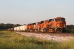 BNSF 6555 Heads a WB GALKCK into the setting Sun..