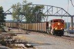 BNSF 9004 Rushes a coal load into Louisiana Mo.