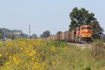 BNSF 6183 Heads a Sb coal load over the field of weeds.