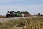 NS 3328 & 3556 sit tied down with L75's long string of coil steel cars from Leipsic