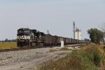 Trapped by derailment outside Fort Wayne, a westbound loaded coal train waits to continue on