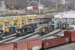 Power from CN, NS and CEFX mingles with the CSX units at the shop