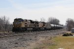 Heading west for Chicago, UP 8496 & 6668 lead the empty ethanol tanks of 65T
